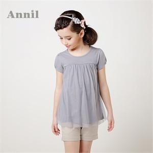 安奈儿童装 女童短袖t恤 2014年夏装新款 圆领短袖针织衫EG421166