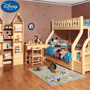 迪士尼儿童实木组合家具 酷漫居芬兰松儿童套房 高低床套房_梯柜上下