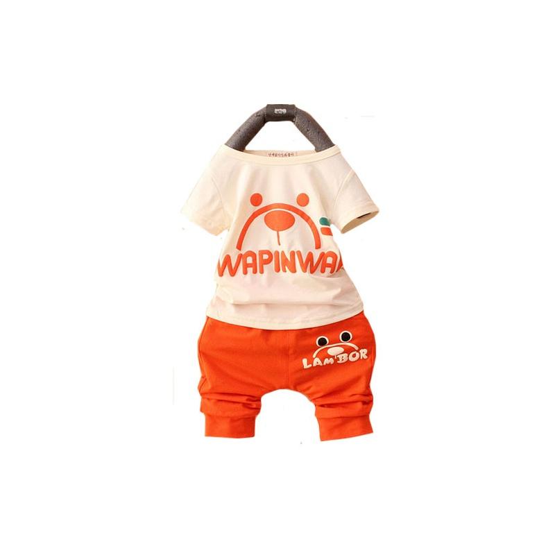 男女婴夏装 0-3岁宝宝短袖t恤 短裤套装 婴幼儿外出服 _橙色(卡通猫
