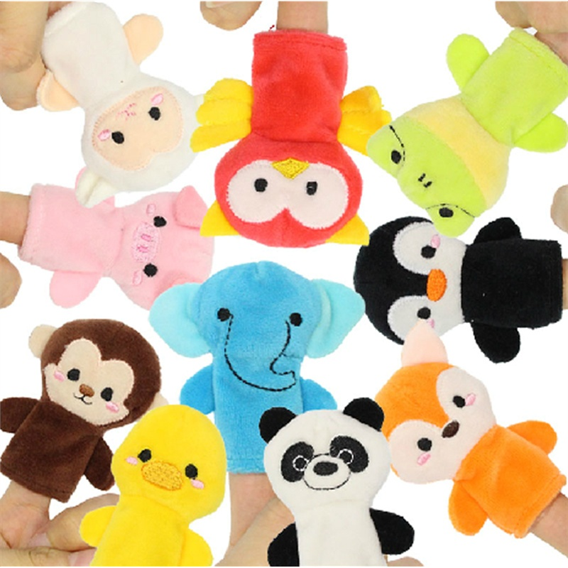 金洋创意 手指娃娃 套手毛绒玩具 动物手偶 超可爱超萌 指偶 10只装