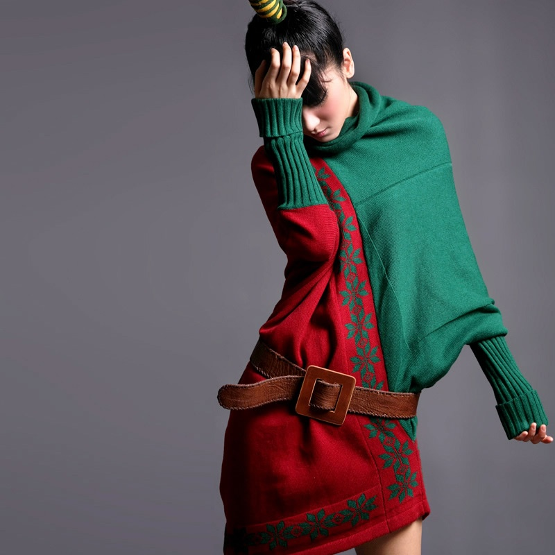 【裂帛针织衫/毛衣】裂帛秋冬新款 塌肩高领宽松红绿