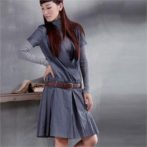 茵曼秋装女款修身韩版长款职业装连衣裙女送腰带OP9852