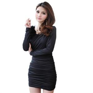 可绿尔 韩版v领性感修身包臀气质长袖褶皱小礼服 Kxlj 2263#
