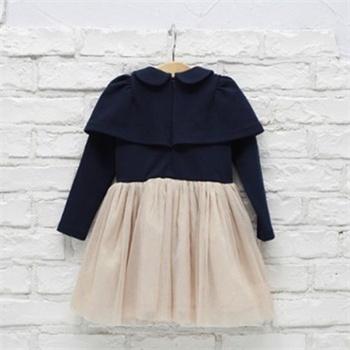 煜婴坊童装女童韩版新款 长袖斗篷式 蕾丝连衣裙 披肩