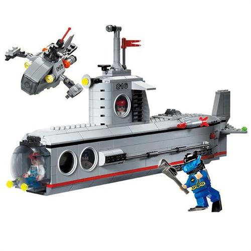 启蒙 乐高式 益智积木拼插玩具 拼装玩具 拼插模型 382块 潜艇816