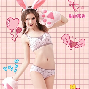 体会新款 甜心系列全棉背心围少女文胸 三角裤套装bq0622-nb0621