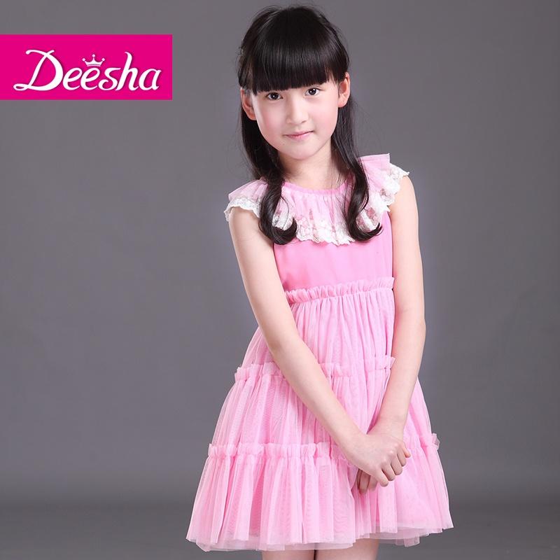 新款儿童唯美梦幻蕾丝花边领公主网纱连衣裙1414321