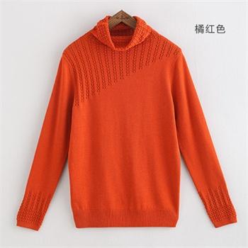 橘红色头�_春装新款 冰晶镂空堆堆领 中长款套头宽松毛衣衫女346103100_橘红色,l