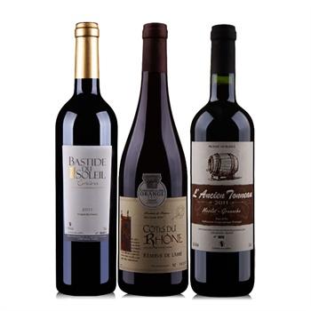 法国南部超值组合装 阳光城堡+老木桶+牧师之园 干红葡萄酒750ml*3