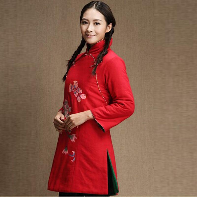 杰塞威斯 新款民族风手绘双襟旗袍式棉服中式立领修身