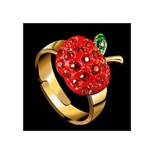 【idee】可爱红苹果璀璨钻石戒指