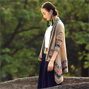 裂帛2014春装新款 羊毛长袖针织开衫 提花毛衣 女51130896