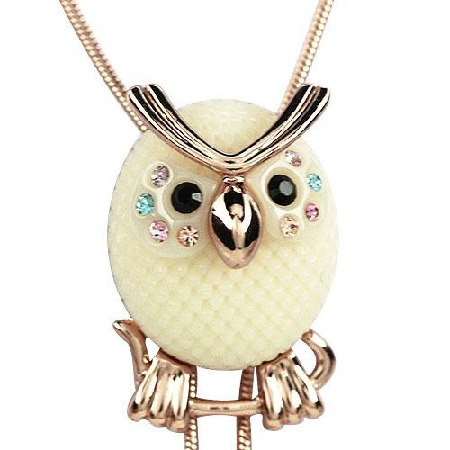麦琪秋可爱白猫头鹰 施华洛世奇元素 水晶长项链毛衣链韩国新款