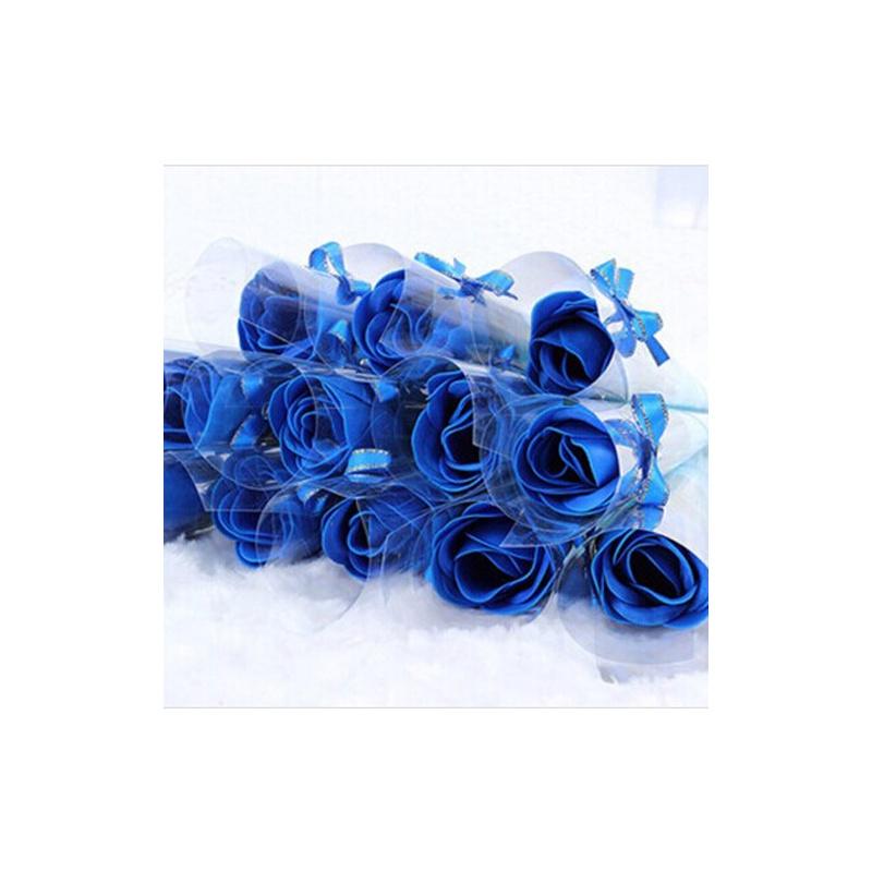 蝴蝶结玫瑰香皂花 创意婚礼肥皂花礼盒 婚庆生日礼品_蓝色24朵