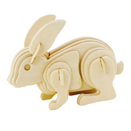 若态科技儿童玩具diy 3d木质仿真拼图系列动物兔子送