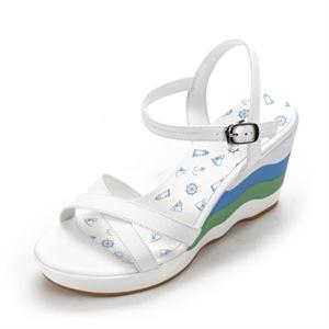 SHOE BOX 鞋柜 13年夏季海洋风拼色波浪纹坡跟厚底凉鞋