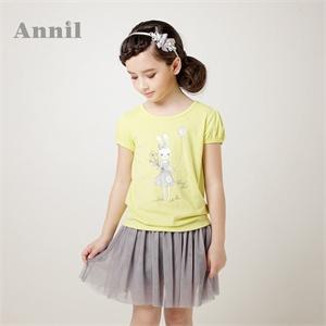 安奈儿童装 女童 2014夏装新款大童 短袖T恤 圆领短袖针织衫 EG421163