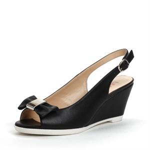 Shoebox 鞋柜 13年夏季优雅蝴蝶结鱼嘴坡跟凉鞋 1113303276