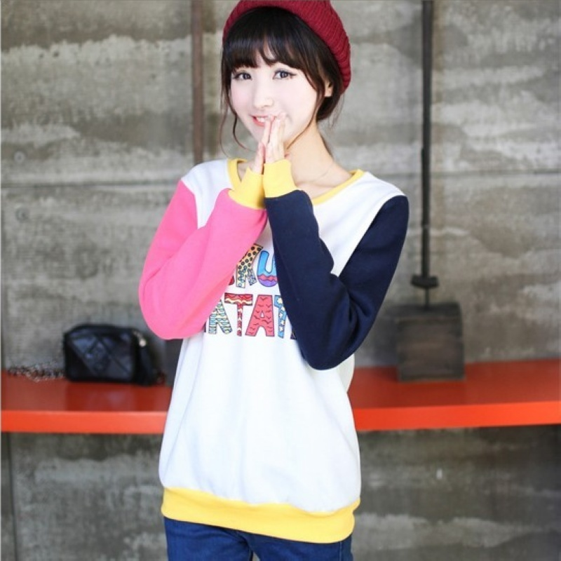 杰塞威斯 新款韩版可爱加厚保暖抓绒长袖彩色字母圆领卫衣外套 al-s