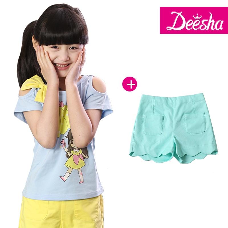 春装韩版女儿童公主可爱套装(t恤 短裤)1413102 1413506_浅蓝 绿色