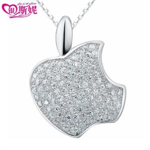 银斯妮 纯银925 苹果吊坠 纯银项链 女款 韩版配饰项坠 时尚潮流