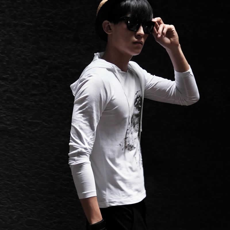 非池中正品 男装2014 珍稀动物系列连帽印花t恤13230026_白色鹰,l