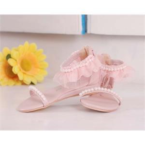 粉色手工女童串珠花边凉鞋