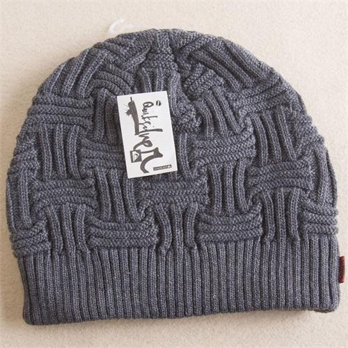 知颜琪 冬季细线编织/套头帽/毛线厚帽/男士帽子_灰色