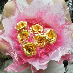全场特价梦克拉足金金箔玫瑰六支装玫瑰套装