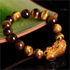 【御灵珠宝】天然精品黄虎眼石貔貅手链 招财转运 12mm
