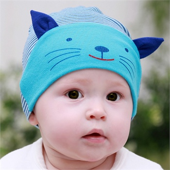 公主妈妈春秋新款宝宝套头帽儿童帽子婴儿帽子小猫咪纯棉帽男童帽