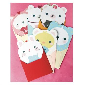 韩国进口可爱卡通简单生活信纸信封套装
