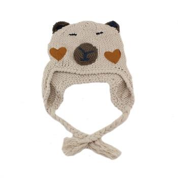 小熊手工编织帽
