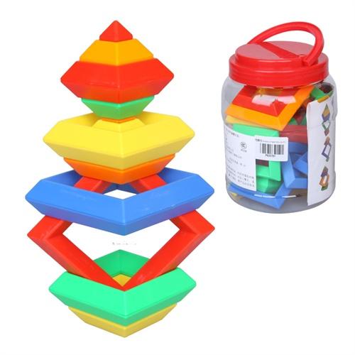创意层层叠 宝宝白宫菱形积木 魔塔金字塔魔方 益智拼搭玩具