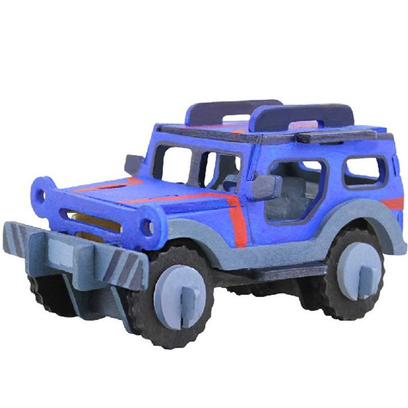 若态科技木质玩具3d立体拼图木制积木益智早教玩具吉普车jp232送颜料