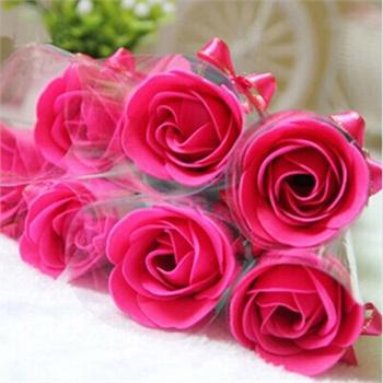 蝴蝶结玫瑰香皂花 创意婚礼肥皂花礼盒 婚庆生日礼品_玫红色24朵