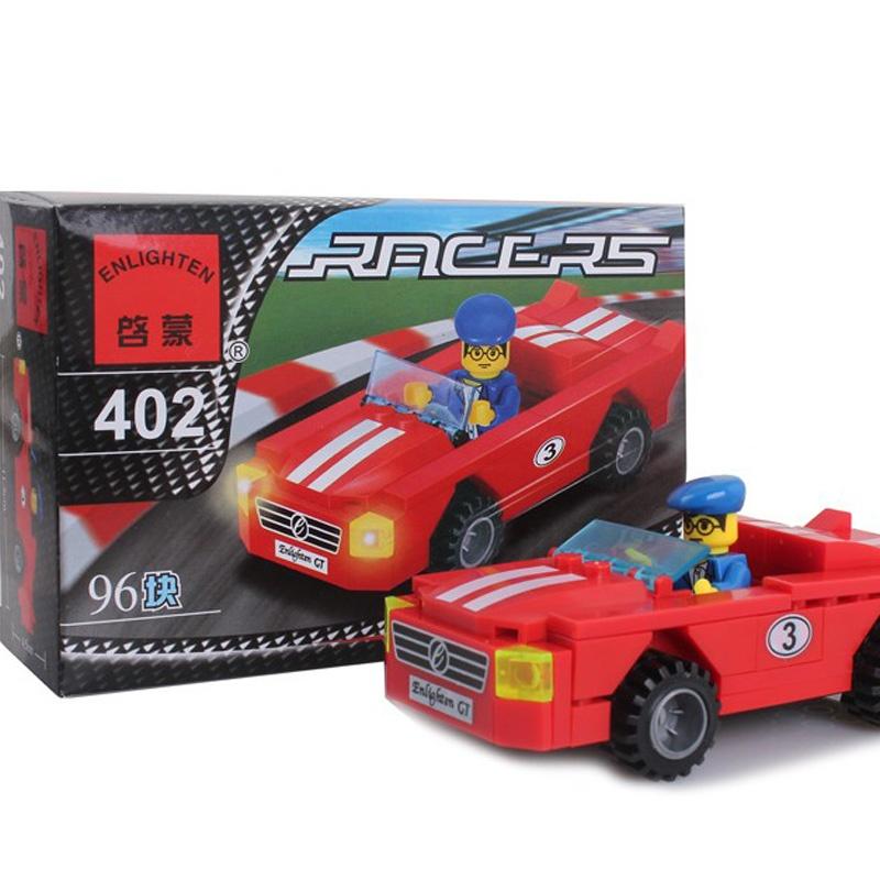 启蒙402乐高式益智拼装拼插积木玩具赛车系列红色小