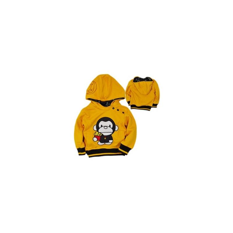 煜婴坊新款童装 可爱卡通大嘴猴绣花贴布双层带帽长袖卫衣_黄色,120cm
