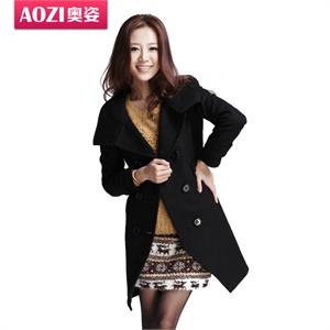 【品牌直供】奥姿新款欧美翻领高腰带长袖双排扣毛呢外套ZO0230