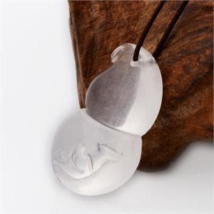 【御灵珠宝】福禄双全 巴西进口天然白水晶吊坠