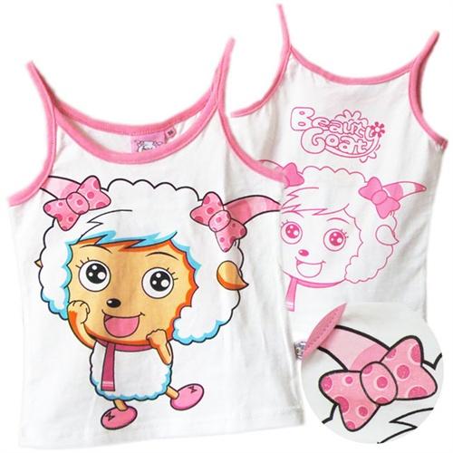 煜婴坊夏季童装 可爱卡通美羊羊印花女童夏季吊带衫_2009,90cm建议95