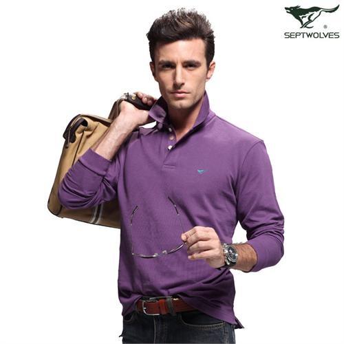 七匹狼 翻领深紫色 纯棉 长袖t恤 111a50601709-501