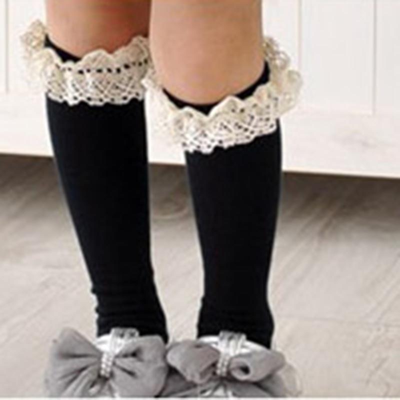 女童花边高筒袜