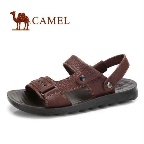 camel骆驼正品 新款 男凉鞋男真皮凉拖鞋夏季沙滩鞋 男鞋子1290475