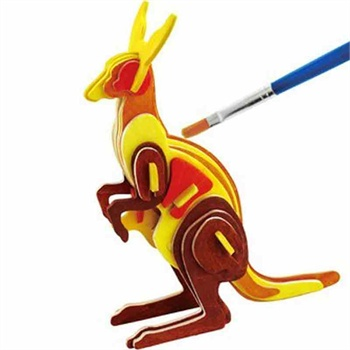若态科技儿童玩具diy 3d木质仿真拼图系列动物飞机送
