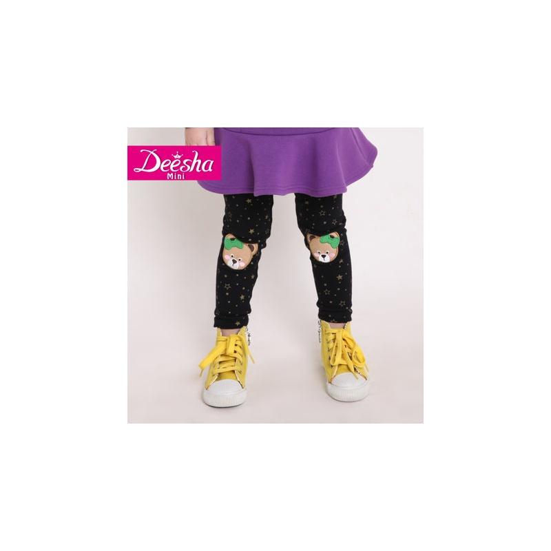 笛莎2014新款女儿童秋装公主可爱多色打底裤1425415_黑印花,140cm