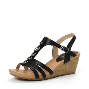 Shoebox 鞋柜 13年夏季罗马风T字金属环铆钉坡跟凉鞋 1113303258