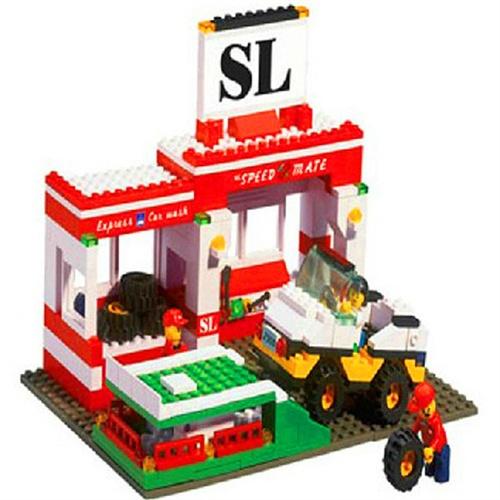 小鲁班乐高拼装益智积木 模拟城市汽车服务中心 b2900