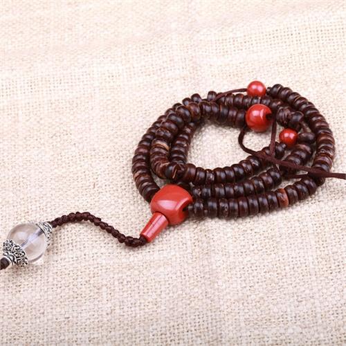 第八区珠宝-天然椰壳 白水晶项链