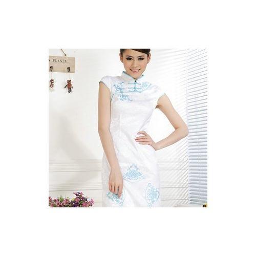 夏装古典暗花纹 修身短袖旗袍